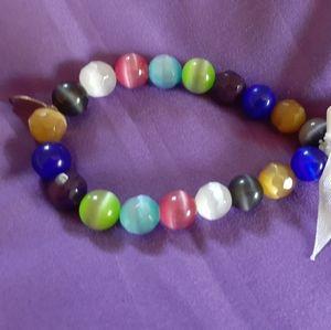 Gigi design multicolored cat eye stretch bracelet